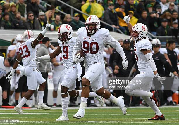 Stanford University DE Solomon Thomas reacts to securing an Oregon turnover during a PAC12 NCAA football game between the Oregon Ducks and the...