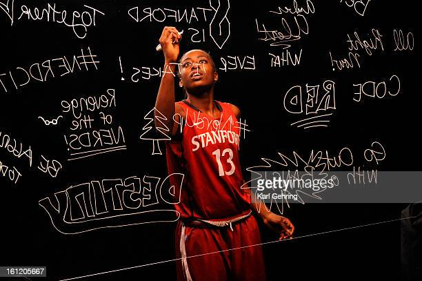 Stanford University forward Chiney Ogwumike wrote the word 'Sisterhood' on a sheet of plexiglass for ESPN Friday afternoon March 30 2012 Teams filmed...