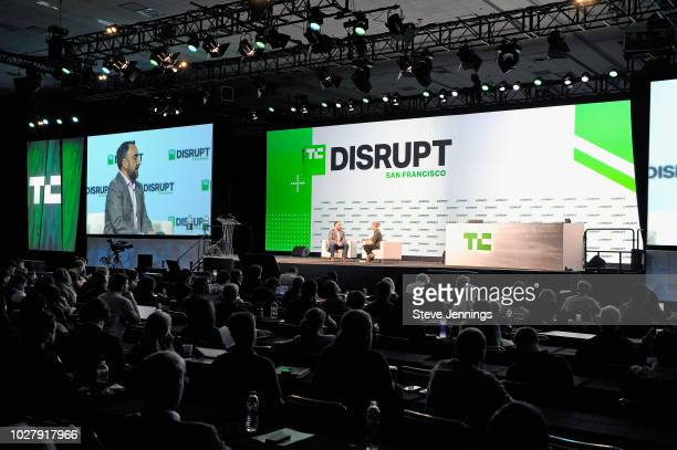 Stanford University Professor Alex Stamos and moderator Taylor Hatmaker speak onstage during Day 2 of TechCrunch Disrupt SF 2018 at Moscone Center on...