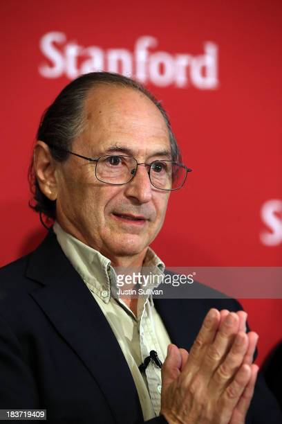 Stanford University School of Medicine biophysicist Michael Levitt speaks during a news conference after winning the Nobel Prize in chemistry on...