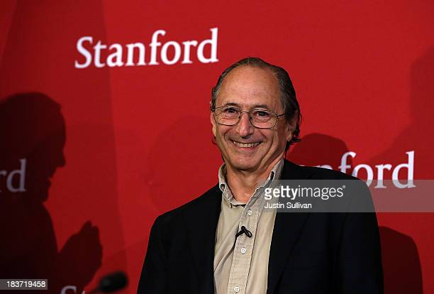 Stanford University School of Medicine biophysicist Michael Levitt looks on during a news conference after winning the Nobel Prize in chemistry on...