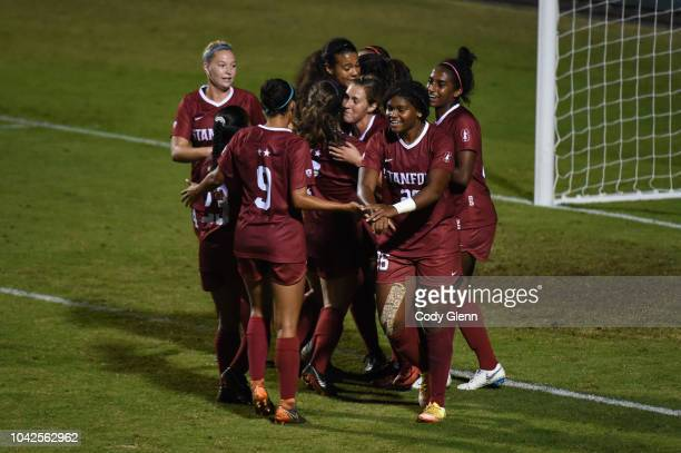 Stanford University teammates celebrate their sideu2019s first goal scored by Catarina Macario against University of Arizona at Laird Q Cagan Stadium...