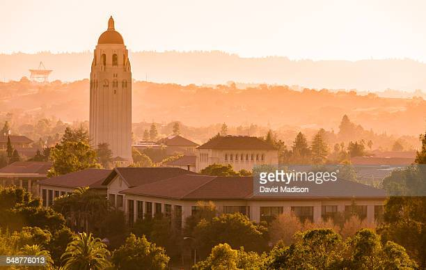 Stanford University's Hoover Tower rises above the Stanford campus with the foothills of California's Santa Cruz Mountains in the distance The Dish a...
