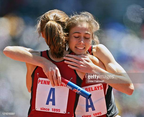 Stanford's Arianna Lambie hugs a teammate after winning the College Women's 4x1500m Championship Friday April 28 2006 during the 112th running of the...