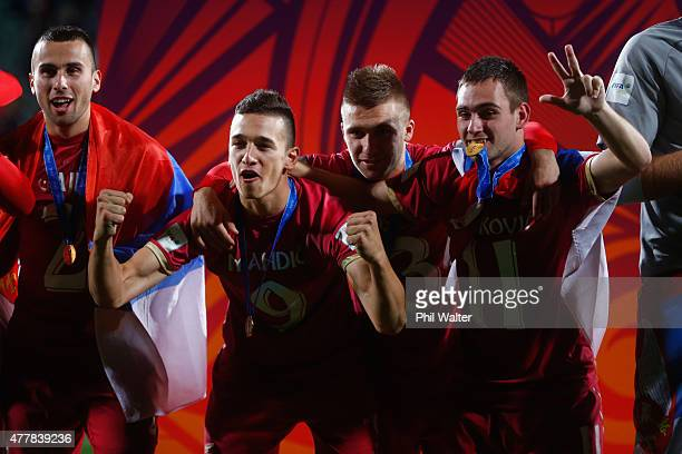 Stanisa Mandic Nemanja Antonov and Andrija Zivkovic of Serbia celebrate following the FIFA U20 World Cup Final match between Brazil and Serbia at...