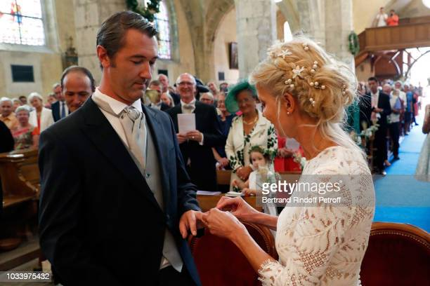 Stanislas Fougeron and Helene of Yougoslavia attend Wedding of Helene of Yougoslavia and Stanislas Fougeron at Eglise Saint Etienne on September 15...