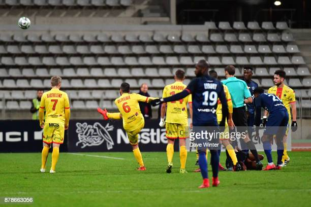 Stanislas Oliveira of Quevilly Rouen Metropole kicks the ball away after receiving a red card during the Ligue 2 match between Paris FC and Quevilly...