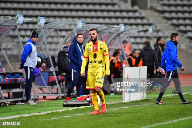 Stanislas Oliveira of Quevilly Rouen Metropole receives a red card from referee Mehdi Mokhtari during the Ligue 2 match between Paris FC and Quevilly...