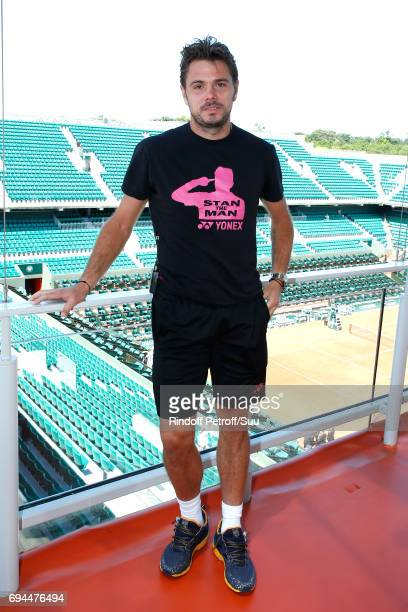 Stanislas Wawrinka aka Stan Wawrinka poses at France Television french chanel studio during the Women Final of the 2017 French Tennis Open Day...