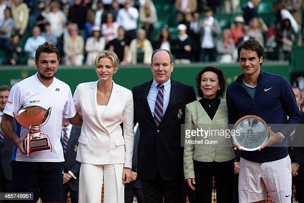 Stanislas Wawrinka Charlene Princess of Monaco Albert II Prince of Monaco ElisabethAnne de Massy and Roger Federer at the presentation ceremony for...