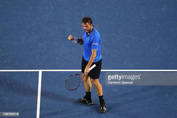 Stanislas Wawrinka of Switzerland celebrates a point in his fourth round match against Andy Roddick of the United States of America during day seven...