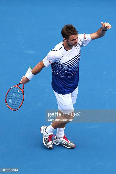 Stanislas Wawrinka of Switzerland celebrates winning in his first round match against Marsel Ilhan of Turkey during day two of the 2015 Australian...