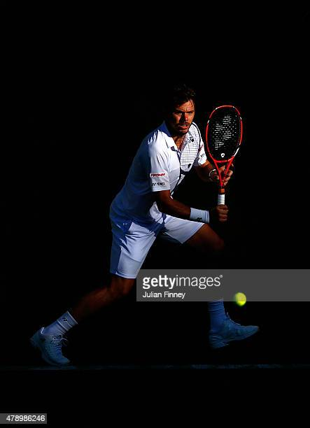 Stanislas Wawrinka of Switzerland in action in his Gentlemens Singles first round match against Joao Sousa of Portugal during day one of the...