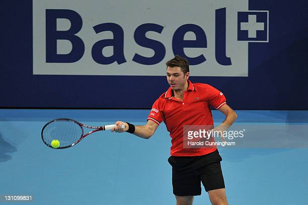 Stanislas Wawrinka of Switzerland in action in his match against Ivan Dodig of Croatia during day two of the Swiss Indoors at St Jakobshalle on...