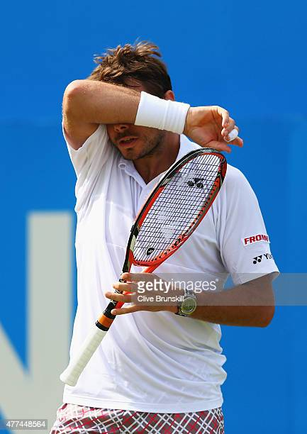Stanislas Wawrinka of Switzerland looks dejected in his men's singles second round match against Kevin Anderson of South Africa during day three of...