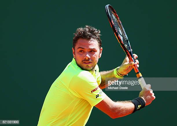 Stanislas Wawrinka of Switzerland plays a backhand during the quarter final match against Rafael Nadal of Spain on day six of the Monte Carlo Rolex...