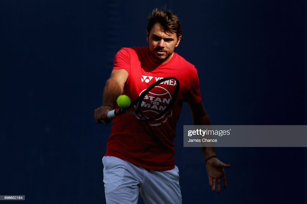 Stanislas Wawrinka of Switzerland plays a backhand shot during a practice session ahead of the Aegon Championships at Queens Club on June 16, 2017 in London, England.