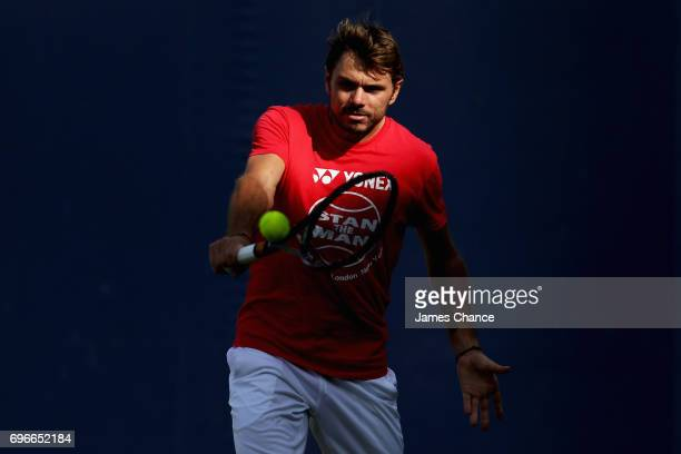 Stanislas Wawrinka of Switzerland plays a backhand shot during a practice session ahead of the Aegon Championships at Queens Club on June 16 2017 in...