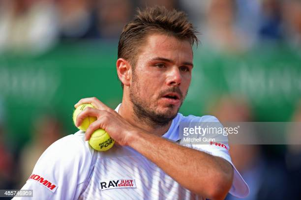 Stanislas Wawrinka of Switzerland playsing against Roger Federer of Switzerland during their final match on day eight of the ATP Monte Carlo Masters...