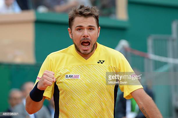 Stanislas Wawrinka of Switzerland reacts after playing a shot against David Ferrer of Spain during their semi final match on day seven of the ATP...