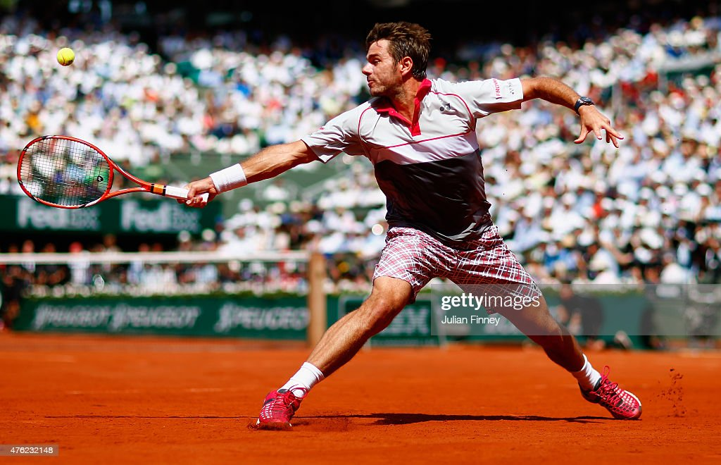 Stanislas Wawrinka of Switzerland returns a shot in the Men's Singles Final against Novak Djokovic of Serbia on day fifteen of the 2015 French Open at Roland Garros on June 7, 2015 in Paris, France.