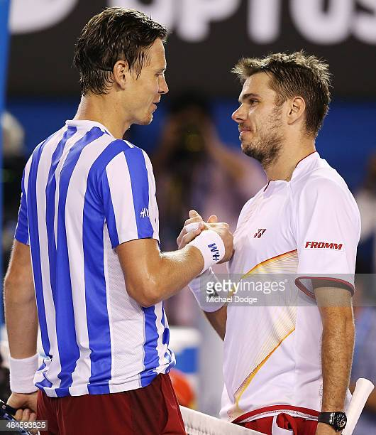 Stanislas Wawrinka of Switzerland shakes hands after winning his semifinal match against Tomas Berdych of the Czech Republic during day 11 of the...