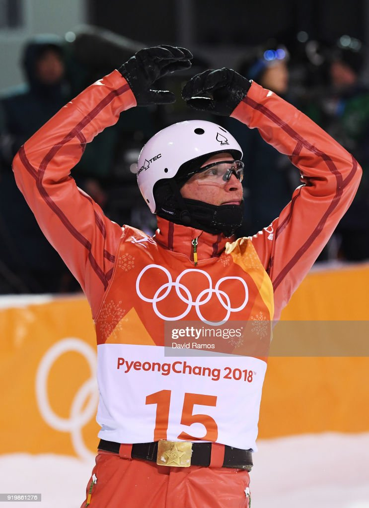 Stanislau Hladchenko of Belarus reacts during the Freestyle Skiing Men's Aerials Final on day nine of the PyeongChang 2018 Winter Olympic Games at Phoenix Snow Park on February 18, 2018 in Pyeongchang-gun, South Korea.