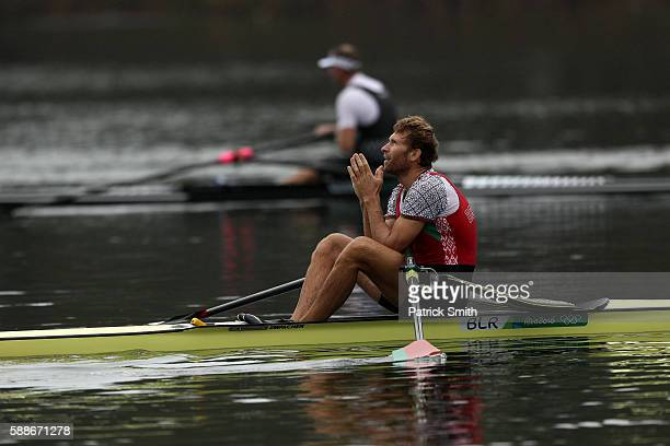 Stanislau Shcharbachenia of Belarus celebrates qualifying for the Final A after the Men's Single Sculls Semifinal A/B 2 on Day 7 of the Rio 2016...