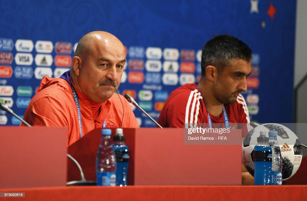 Stanislav Cherchesov, Head Coach of Russia and Alexander Samedov attend a Russia press conference ahead of the 2018 FIFA World Cup opening match against Saudia Arabia at Luzhniki Stadium on June 13, 2018 in Moscow, Russia.