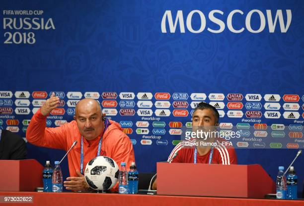 Stanislav Cherchesov Head Coach of Russia and Alexander Samedov attend a Russia press conference ahead of the 2018 FIFA World Cup opening match...