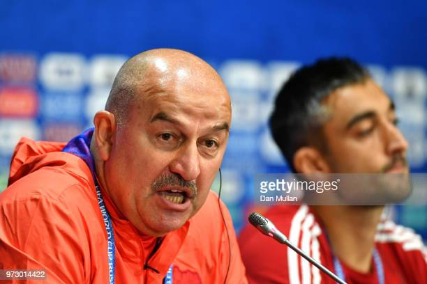 Stanislav Cherchesov Head Coach of Russia and Alexander Samedov talk to the media during a Russia press conference ahead of the 2018 FIFA World Cup...