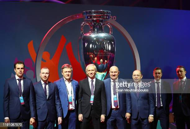Stanislav Cherchesov, Head Coach of Russia, and his backroom staff pose for a photo prior to the UEFA Euro 2020 Final Draw Ceremony at the Romexpo on...
