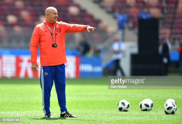 Stanislav Cherchesov Head Coach of Russia gives instructions during a Russia training session ahead of the 2018 FIFA World Cup opening match against...