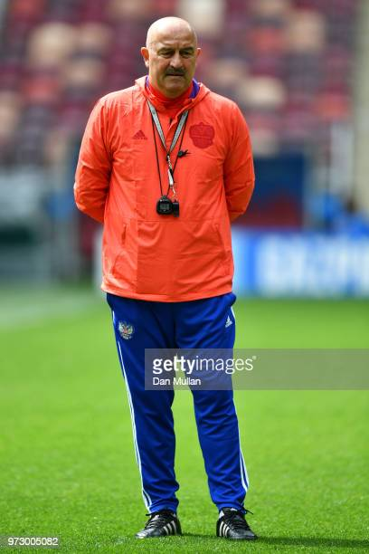 Stanislav Cherchesov Head Coach of Russia looks on during a Russia training session ahead of the 2018 FIFA World Cup opening match against Saudia...