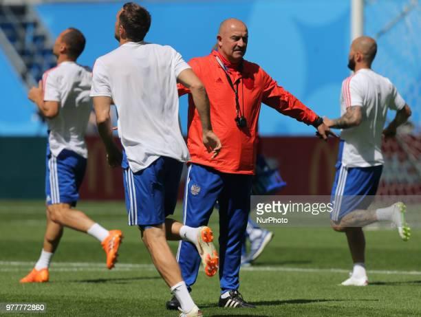 Stanislav Cherchesov Head Coach of the Russia national football team takes part in a training session at Saint Petersburg Stadium in Saint Petersburg...