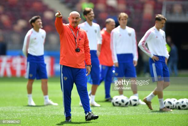 Stanislav Cherchesov of Russia gives intructions during a Russia training session ahead of the 2018 FIFA World Cup opening match against Saudia...