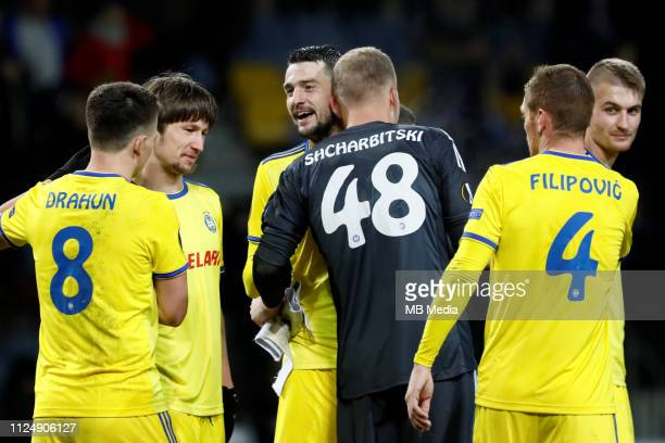Stanislav Dragun Dmitri Baga Yegor Filipenko Denis Scherbitski Aleksandar Filipovic and Zakhar Volkov of BATE Borisov celebrate victory during the...