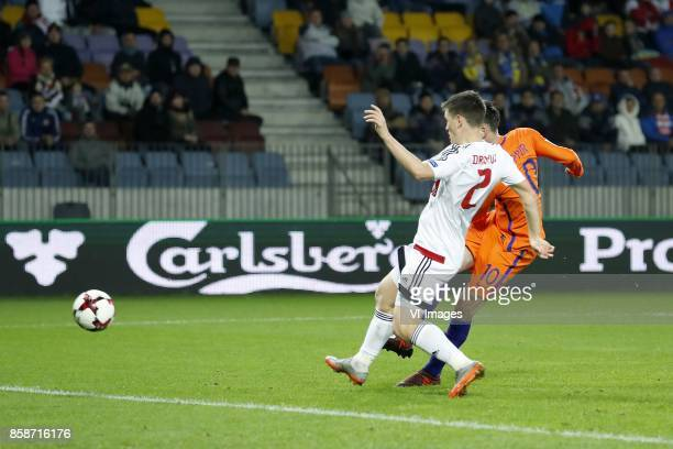 Stanislav Dragun of Belarus Davy Propper of Holland 01 during the FIFA World Cup 2018 qualifying match between Belarus and Netherlands on October 07...