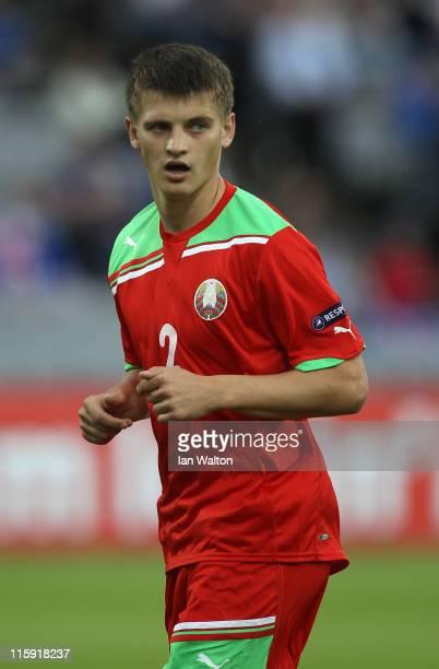 Stanislav Dragun of Belarus during their UEFA European Under21 Championship Group A match between Belarus and Iceland at the Aarhus stadium on June...