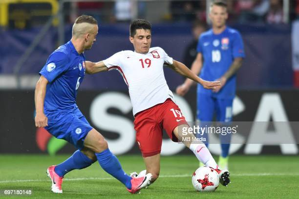Stanislav Lobotka and Bartosz Kapustka during the UEFA European Under21 match between Poland and Slovakia at Arena Lublin on June 16 2017 in Lublin...