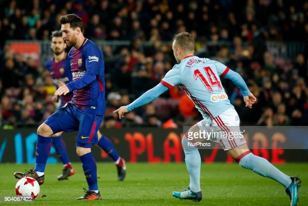 Stanislav Lobotka and Leo Messi during the Copa del Rey match between FC Barcelona and Real Club Celta de Vigo in Barcelona on January 11 2018