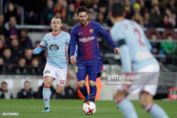 Stanislav Lobotka of Celta de Vigo Lionel Messi of FC Barcelona during the Spanish Copa del Rey match between FC Barcelona v Celta de Vigo at the...