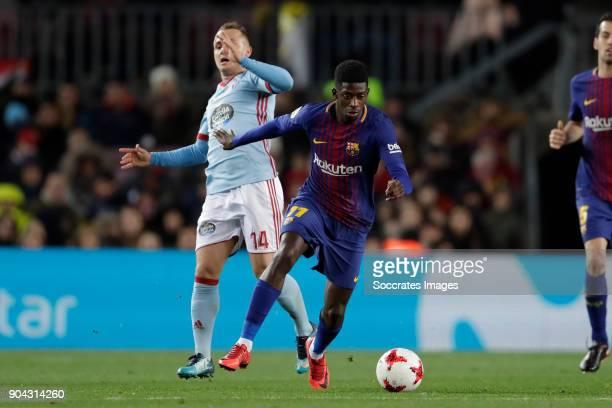 Stanislav Lobotka of Celta de Vigo Ousmane Dembele of FC Barcelona during the Spanish Copa del Rey match between FC Barcelona v Celta de Vigo at the...