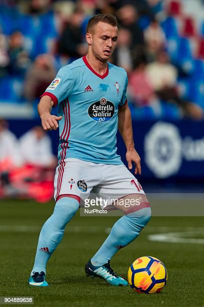 Stanislav Lobotka of Real Club Celta de Vigo with the ball during the La Liga game between Levante UD and Real Club Celta de Vigo at Ciutat de...