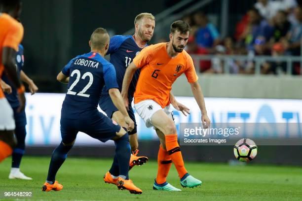 Stanislav Lobotka of Slovakia Adam Nemec of Slovakia Davy Propper of Holland during the International Friendly match between Slovakia v Holland at...