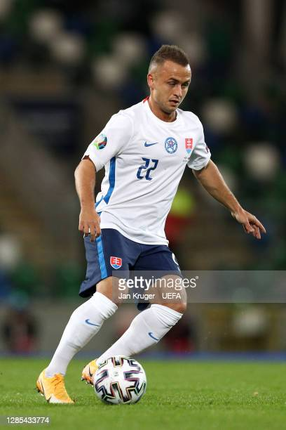 Stanislav Lobotka of Slovakia in action during the UEFA EURO 2020 Play-Off Final between Northern Ireland and Slovakia at Windsor Park on November...