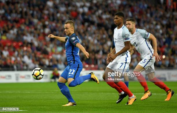 Stanislav Lobotka of Slovakia scores their first goal during the FIFA 2018 World Cup Qualifier between England and Slovakia at Wembley Stadium on...
