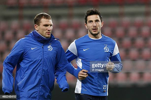 Stanislav Manolev of Dinamo Moscow Aleksandr Prudnikov of Dinamo Moscow during a training session of Dinamo Moscow prior to the Europa League match...