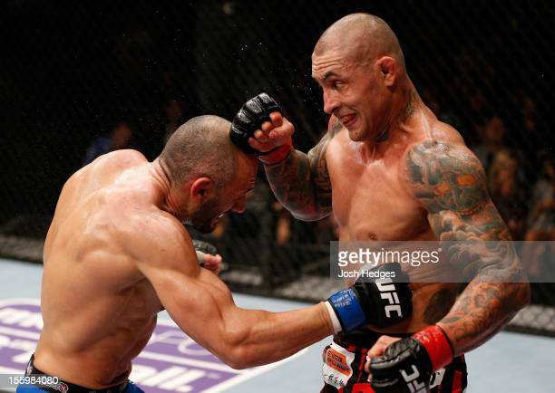 Stanislav Nedkov and Thiago Silva trade punches during their light heavyweight bout at the UFC Macao event inside CotaiArena on November 10 2012 in...