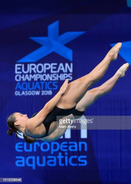 Stanislav Oliferchyk and Viktoriya Kesar of Ukraine compete in the Mixed Synchronised 3m Springboard final during the diving on Day seven of the...